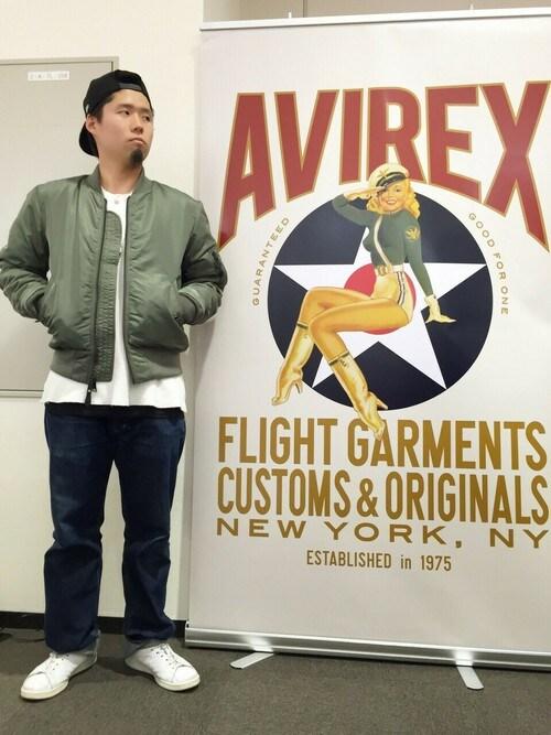 AVIREX 横浜HONDAさんのMA-1「avirex/アヴィレックス/メンズ/MA-1 COMMERCIAL/MA-1コマーシャル(AVIREX|アヴィレックス)」を使ったコーディネート