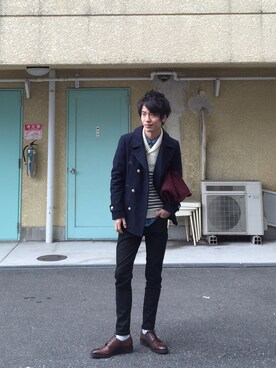 "shun is wearing nano・universe ""Melton Pコート"""