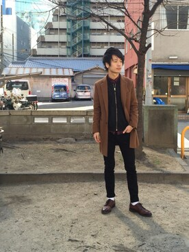 "shun is wearing UNION STATION ""<FINEBOYS11月号 P122掲載  菅谷哲也さん 宮城大樹さん着用商品>ウール チェスターコート"""