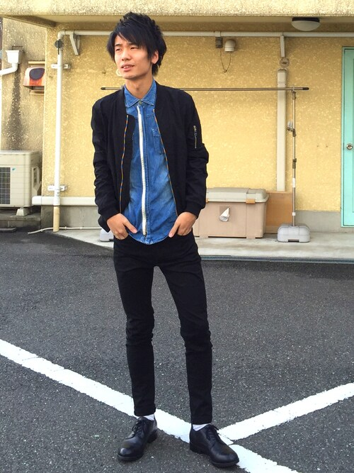 "shun is wearing GLOBAL WORK ""ライトウェイトMA-1/564420"""