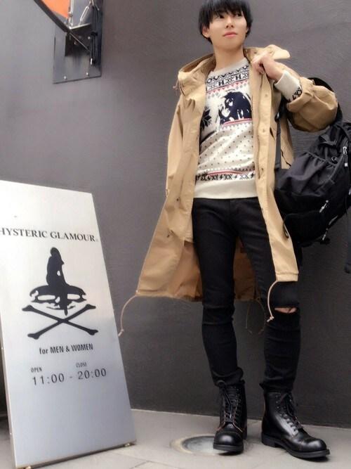 HYSTERIC GLAMOUR福岡店katsuさんのブーツ「キャッツポーヒール 8ホールワークブーツ(HYSTERIC GLAMOUR ヒステリックグラマー)」を使ったコーディネート