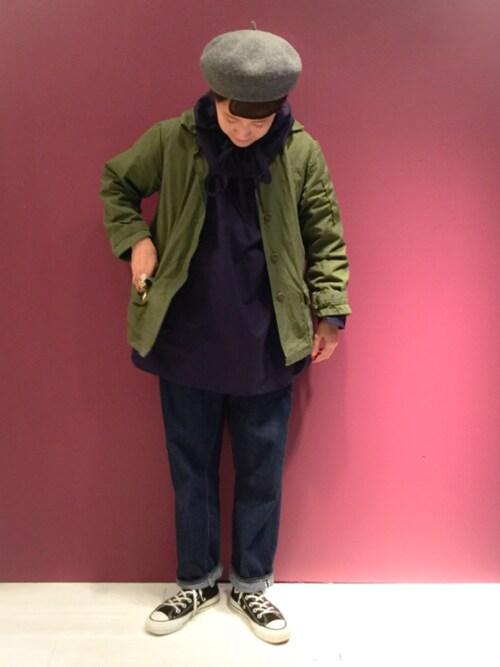 ビームス ボーイ 原宿あさやま ふうこさんのデニムパンツ「orSlow × BEAMS BOY / 別注 Monroe Pants Special(BEAMS BOY|ビームスボーイ)」を使ったコーディネート