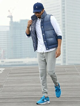 "THE DUFFER OF ST.GEORGE|JEEさんの「""Ultramarine"" USED LIKE DENIM DOWN VEST:デニムダウンベスト(The DUFFER of ST.GEORGE)」を使ったコーディネート"