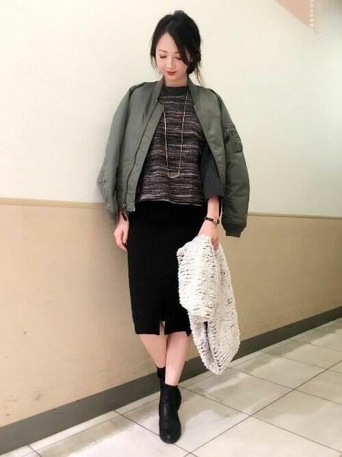 MA-1×タイトスカートが気分