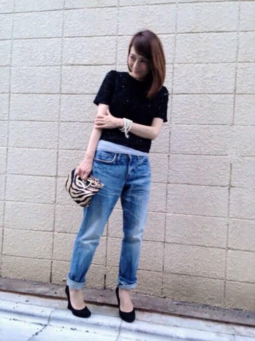 黒のレーシーTシャツにデニム 夏コーディネイトスナップ