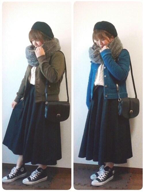 yakkoさんのデニムジャケット「大人っぽくて動きやすいニットデニムジャケット(haco!|ハコ)」を使ったコーディネート