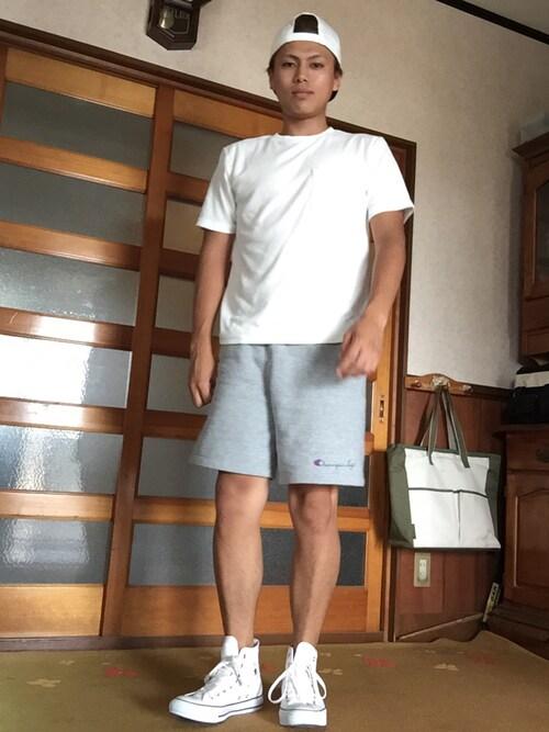 kokiさんの「【Champion/チャンピオン】別注リバースウィーブプリントショーツ/556010(Champion)」を使ったコーディネート