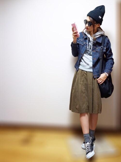 nyaobuさんの「ベルト付タックミディスカート(PAGEBOY)」を使ったコーディネート