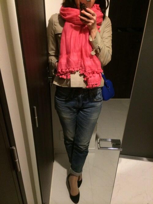 #ピンクのストールで明るく