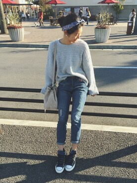 ROXY GIRLS SNAP|NAMIKIさんの「TOMBOY DENIM REPAIRS(ROXY)」を使ったコーディネート