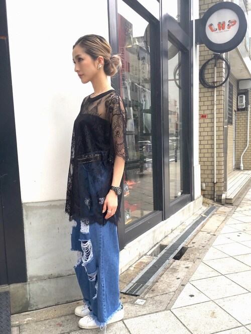LHP 大阪店hanae maruiさんのTシャツ/カットソー「Chica/チカ/Lace T-Shirts(Chica|チカ)」を使ったコーディネート