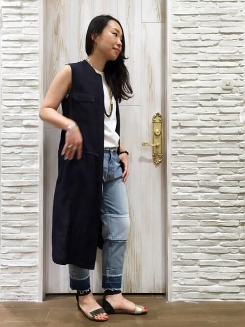kuboさんのTシャツ/カットソー「Ahe'hee(アヘヘ)      丸胴 ノースリーブカットソー(Uncut Bound|アンカットバウンド)」を使ったコーディネート