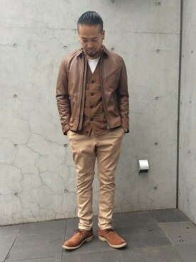 DUFFER 渋谷店|KOBAYASHIさんの「COTTON STRETCH TAPERED SKINNY TROUSERS:テーパードスキニーパンツ(The DUFFER of ST.GEORGE)」を使ったコーディネート