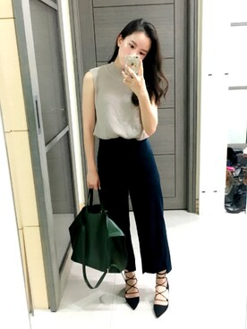 "Jasmine:) is wearing CLANE ""BACK LONG THICK PANTS"""