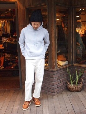 "SMART CLOTHING STORE 原宿店|KenjiHimenoさんの「CAMBER ""キャンバー"" Lot:232-IM-12F Model: 12oz HOOD PULL OVER Price:¥13.800+tax Color: OXFORD, BURGUNDY, NAVY Size: S,M,L MADE IN USA(CAMBER)」を使ったコーディネート"