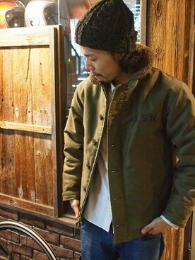"SMART CLOTHING STORE 原宿店|KenjiHimenoさんの「McCOY ""トイズマッコイ"" Lot: TMJ1432 Model: N-1 DECK JACKET Price:¥58.000+tax Color: OLIVE (TOYS McCOY)」を使ったコーディネート"