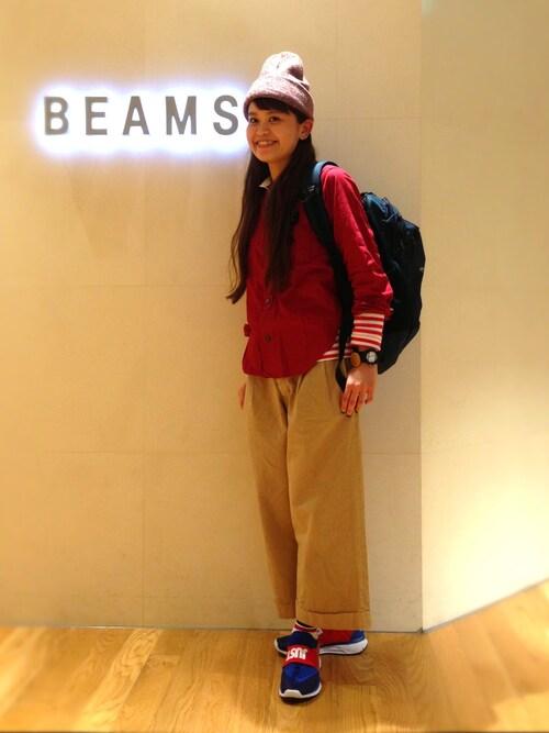 ビームス 二子玉川ASAMI OKANOさんのTシャツ/カットソー「BEAMS BOY / フライス 1cm ボーダー(BEAMS BOY|ビームスボーイ)」を使ったコーディネート