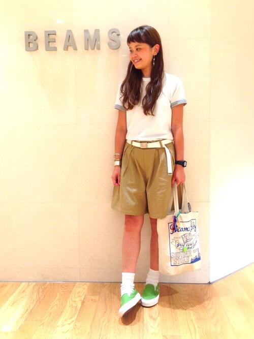 ビームス 二子玉川ASAMI OKANOさんのTシャツ/カットソー「FRUIT OF THE LOOM × BEAMS BOY / 2packs-Tシャツ(BEAMS BOY|ビームスボーイ)」を使ったコーディネート