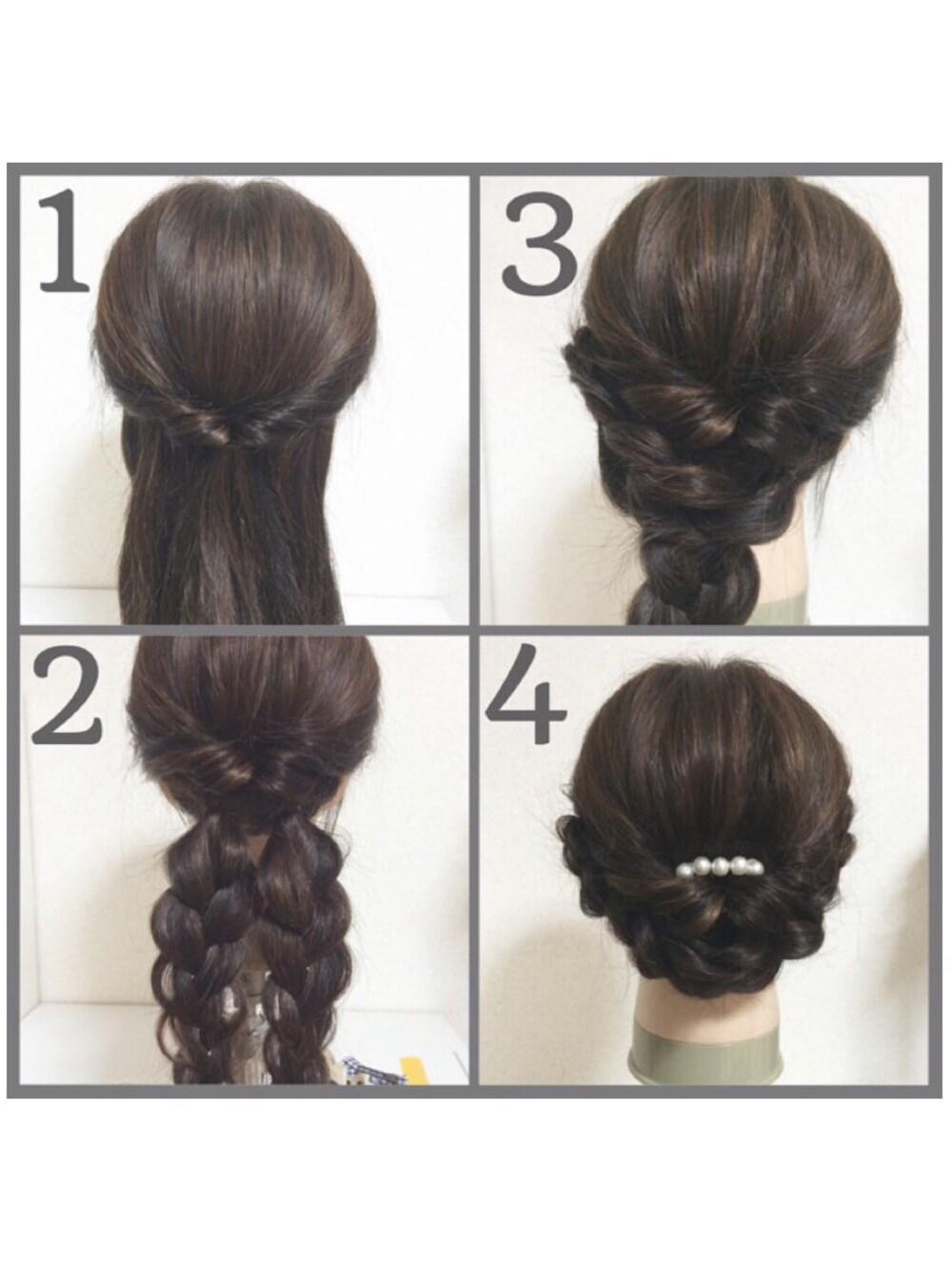 セミロング 入園式 自分で簡単にできる髪型