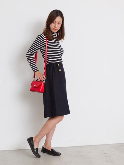 80年代ファッション,膝丈スカート,ボーダー柄