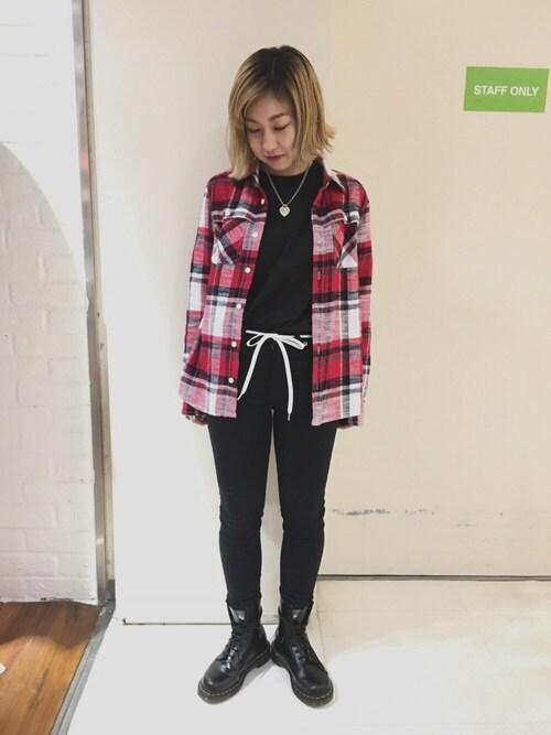 X-girl 原宿yuuka onoさんのシャツ/ブラウス「NEP FLANNEL SHIRT /チェックシャツ/ネルシャツ/トップス/秋/長袖(X-girl|エックスガール)」を使ったコーディネート