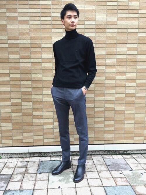 LACOSTE 高松店FUMIYAさんのニット/セーター「ウォッシャブル メリノウール セーター(LACOSTE ラコステ)」を使ったコーディネート