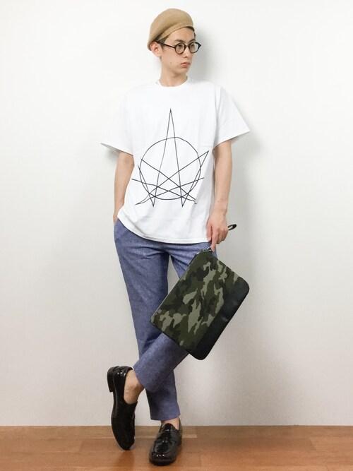 """ZOZOTOWN原口 聖也さんのTシャツ/カットソー「[Re Youth / リユース] GD Tシャツ """"JN""""(Re Youth リユース)」を使ったコーディネート"""