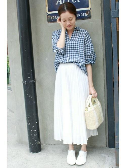 【1】ギンガムチェックシャツ×スカート