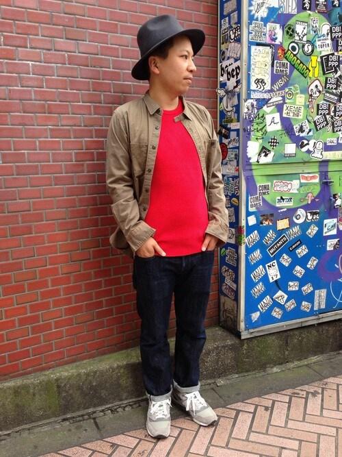 AVIREX 渋谷SUGAYA!さんのTシャツ/カットソー「avirex/アヴィレックス/メンズ/L/S WAFFLE CREW NECK T-SHIRT/長袖 ワッフル クルーネック Tシャツ(AVIREX|アヴィレックス)」を使ったコーディネート