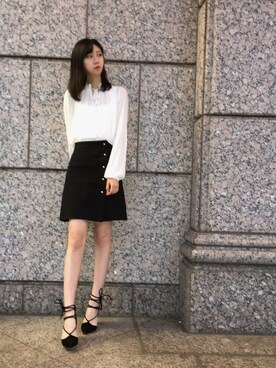 7c1cf19a6 Looks featuring GUCCI A-line wool and silk-blend crepe mini skirt (1). Look  by Lalin.