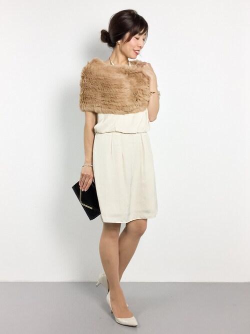 ZOZOTOWNRINAさんのドレス「コットンパールネックレス付きウエストブラウジングドレス(moca couture モカクチュール)」を使ったコーディネート
