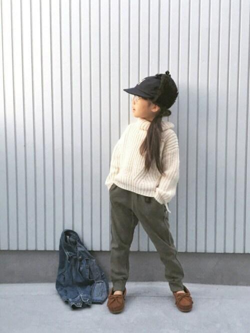 nanaさんのモカシン/デッキシューズ「【MINNETONKA】 ミネトンカ キッズ KILTY/ キルティ スエード モカシン(キッズ)(Minnetonka ミネトンカ)」を使ったコーディネート