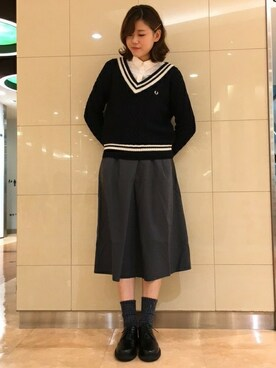 FRED PERRY JR博多シティ|YUIさんの「Long Skirt(FRED PERRY)」を使ったコーディネート