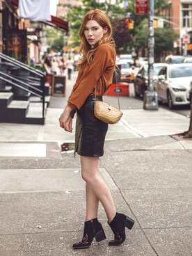 Honour Women S Skirt In Leather Look Black Size Uk 8