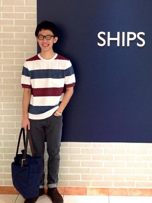 今川さんの「SC: SHIPS(シップス) 16FW セルビッジ ユーズド加工 テーパード デニムパンツ■(SHIPS)」を使ったコーディネート