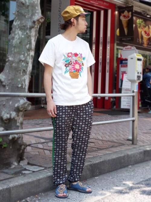 ALDIES SHIBUYAはらださんのTシャツ/カットソー「Vase Embroidery T / ベースエンブロイダリーT(ALDIES|アールディーズ)」を使ったコーディネート