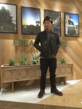 FREAK'S STORE 岡山|栗原さんの「-2015FW- SHEEP W RIDERS JACKET(FREAK'S STORE)」を使ったコーディネート