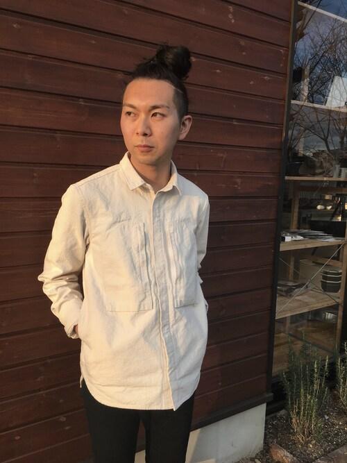 Snow PeakjunyAgus*さんのシャツ/ブラウス「オカヤマ オックス シャツ -生成- (ユニセックス)(Snow Peak|スノーピーク)」を使ったコーディネート