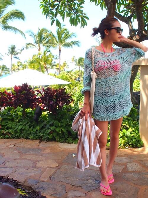 30代母親 ハワイの海 ビキニ レーストッッパー