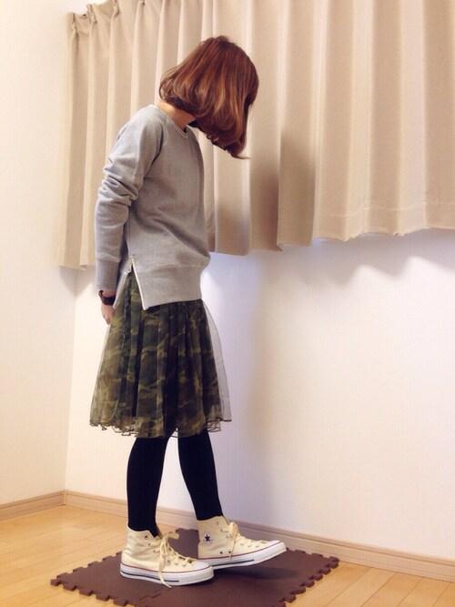 カモフラ柄のチュールスカート