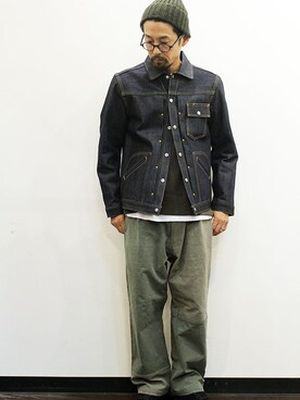 "two things & think|nakajiさんの「pleats western jacket "" denim ""(TOWNCRAFT)」を使ったコーディネート"