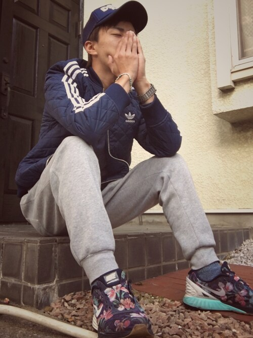 "ken is wearing adidas ""adidas Originals Quilted Jacket AB7860"""