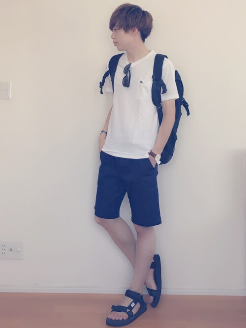 Ryoさんの「<LACOSTE (ラコステ)> PIQUE CREW NECK/Tシャツ(LACOSTE)」を使ったコーディネート