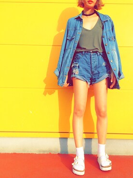 HARUKAさんの「FOREVER 21 Boxy Ribbed Knit Tank(Forever 21)」を使ったコーディネート