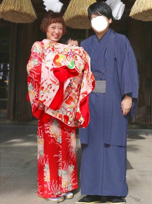 春夏お宮参り画像 母親ファッション レトロな着物 コーディネート