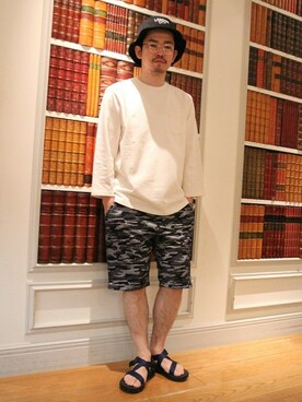 DUFFER 新丸の内ビル店|エノ_エノモトさんの「JAQUARD CAMOUFLAGE SHORTS:迷彩ショートパンツ(The DUFFER of ST.GEORGE)」を使ったコーディネート