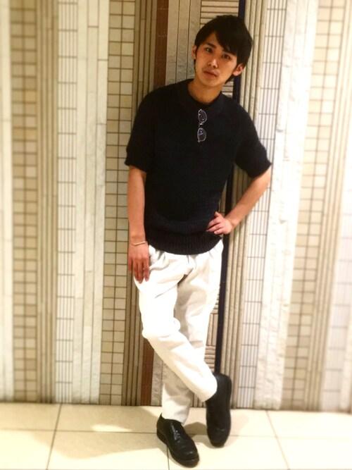 UNITED TOKYO MENS SHINJUKU石田優気さんのニット/セーター「リネンニットTee(UNITED TOKYO|ユナイテッドトウキョウ)」を使ったコーディネート