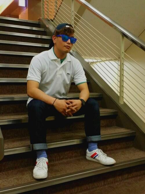 LACOSTE 羽田第1旅客ターミナル店OTAKIさんのデニムパンツ「ストレッチデニム 5ポケット(LACOSTE|ラコステ)」を使ったコーディネート