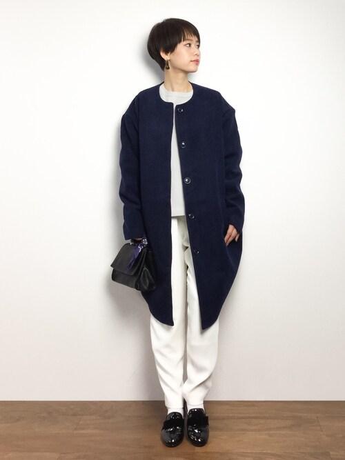 ZOZOTOWNyukiさんのノーカラージャケット「DETAILS women/ノーカラーコクーンコート(DETAILS|ディテールズ)」を使ったコーディネート