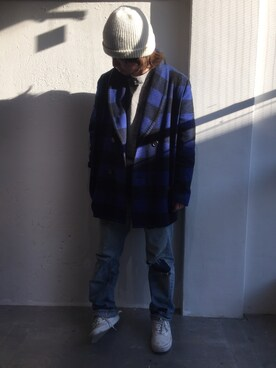 WEYEP|森部裕也さんの「Barbudos M-036 Block check Blanket stitch Coat(Barbudos)」を使ったコーディネート